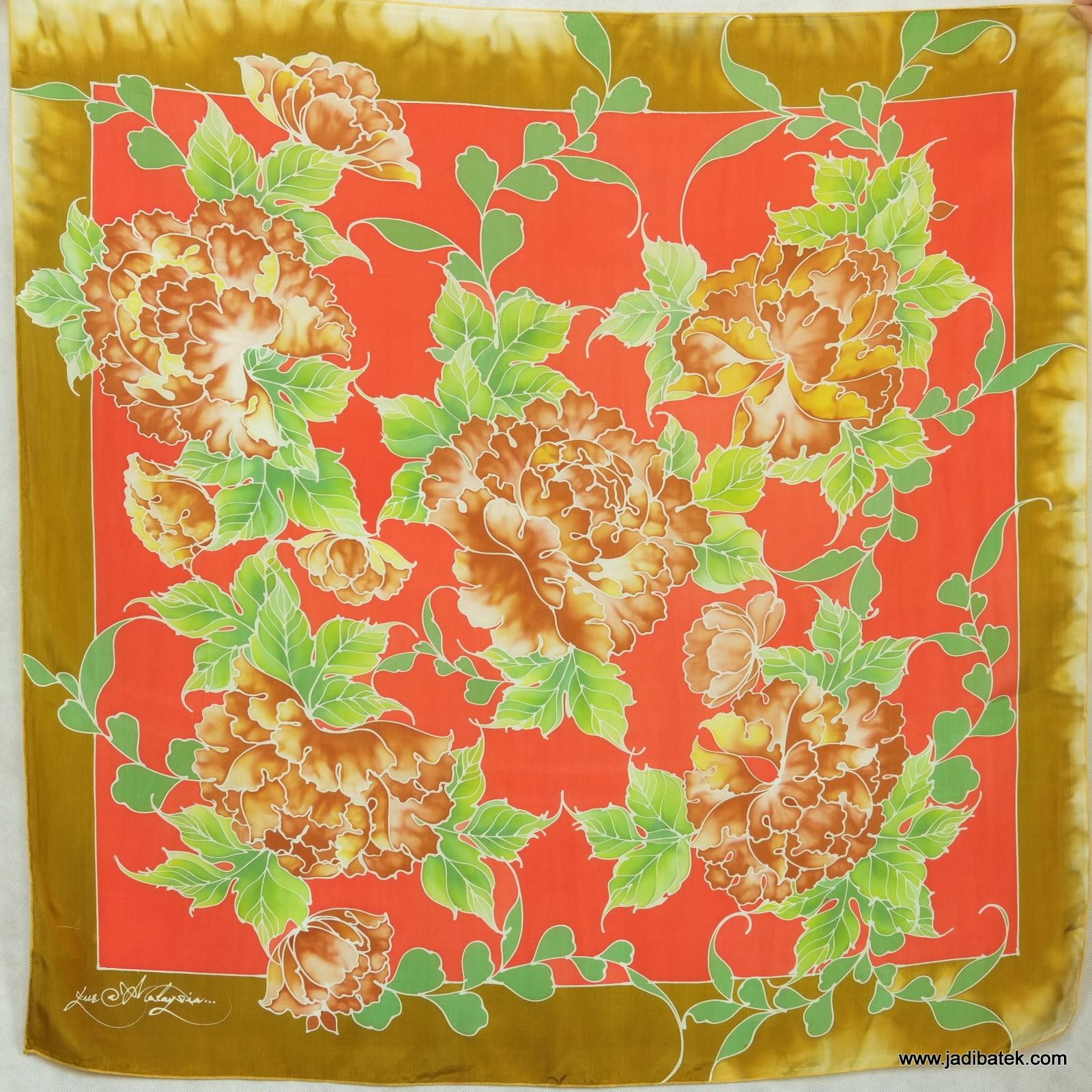 Batik Silk Scarf Square 014